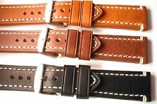 Darlena ''Rustic, Vintage'' leather watch strap. 3 colours, 20, 22, 24 and 26mm