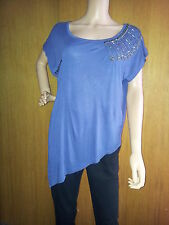 BRAND NEW LADIES NEXT TOP DENIM BLUE SEQUENCED TSHIRT  SIZE 6, 8, 10, 12, 14, 20