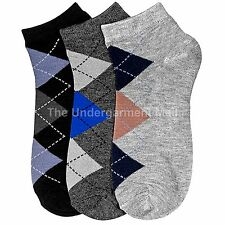 12 Pairs Lot Men Crew Argyle Dress Socks Ankle Low Cut Fashion Size 9-11 New
