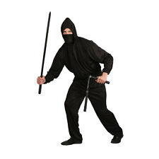 MENS DARK NINJA BLACK TRADITIONAL COSTUME CLASSIC SUIT OUTFIT S-XL PLUS SIZE