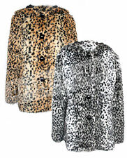 Ladies Womens Faux Fur Leopard Print Furry Coat Button Up Gold Silver Animal