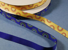 2-yd 5/8 inch PRINTED GROSGRAIN Ribbon Trim Circles on Royal Blue or Yellow