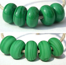 5 DARK GRASS GREEN * donut handmade lampwork glass spacer beads TANERES sra