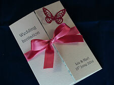 50 Glitter Butterfly Gatefold Wedding Invitations ***14 colours***
