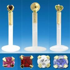 Clear Bio Flexible Labret Stud ~ 14k Gold Top & 2mm Genuine Stone or CZ Crystal