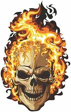 car truck motorcycle  FULL COLOR STICKER DECAL VINYL  FLAME SKULL 4 Sizes #1