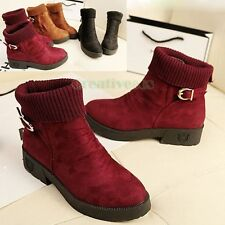 Elegant Fashion Women Girl's Solid Wool Belt Round Head Boots Casual Ankle Shoes