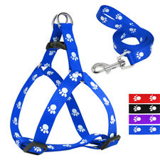Nylon Pet Dog Harness and Lead Leash with Paw Print Cute for Dogs Walking S M L