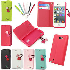 Cherry Flip Wallet Card PU Leather Case Cover Stand For Most Phones N9000 iPhone