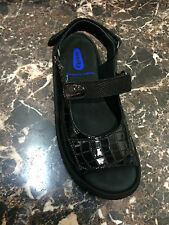 "womens WOLKY 'jewel"" comfort sandal, black croc leather print"