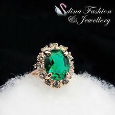 18K Rose Gold Plated Genuine Swarovski Crystals Gorgeous Emerald Oval Cut Ring