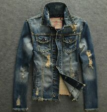 Hot Sale!!!New Fashion Men's Slim Fit distressed Jackets Hole Ripped denim Coats