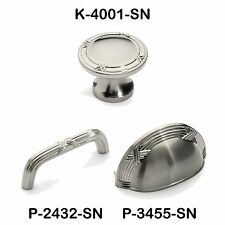 Satin Nickel Ribbon and Reed Cabinet Hardware Knobs and Pulls