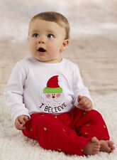 Mud Pie Baby Infant Boy I Believe Christmas Holiday 2 Pc Pant Set SZ 0-6M 12-18M