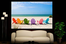 Wall Art Canvas Print Colorful Beach Chairs Ocean Sand Decor Picture Prints
