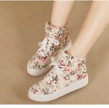 New Women Fashion Floral Lace Up Ankle Boots Preppy Girl's Flats Sneakers Shoes