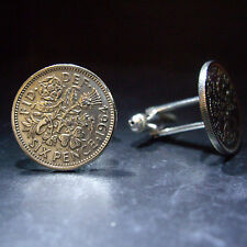 SET 6d SIXPENCE BIRTHDAY COIN CUFFLINKS CHOOSE YOUR YEAR 1947 - 1967