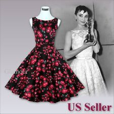 Red Rose Audrey Hepburn Style 50s Evening Party Wedding Vintage Dress USA