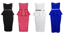 Midi Knee Length Belted Peplum Dress with Frill. Strapless Boobtube Pencil 8-14