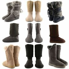 NEW SEXY LADIES FAUX FURRY FUR LINING WINTER MID CALF PULL ON BOOTS ANKLE SNUGG