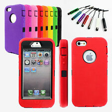 Hybrid Rugged Rubber Matte Robot Hard Case Cover +Stylus +Film For iPhone 5S 5G