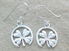 NEW 925 STERLING SILVER Plain Lucky Four Leaf Clover Drop Earrings Women Teen