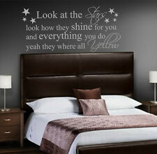COLDPLAY YELLOW, Quote, Vinyl Wall Art Sticker Decal Mural, Bedroom lyrics STARS