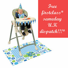 BOY 1st FIRST Birthday Party BLUE  Baby High chair Decoration Kit Highchair 5*