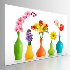 Large Colourful Flowers in Vases Canvas Picture Print Artwork. 20x30. Wall Art.