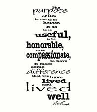 Ralph Waldo Emerson Purpose of Life Compassionate Wall Decal Vinyl Quote Words