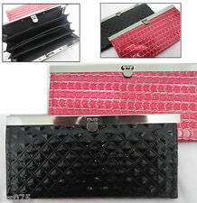 CROCO Patent Leather Lady Women Long Wallet Card Coin Purse Travel Clutch Bag