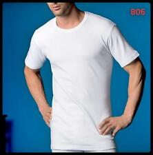 Men's Thermal Undershirt ABANDERADO Underwear Crew Neck Short T-Shirt White Vest