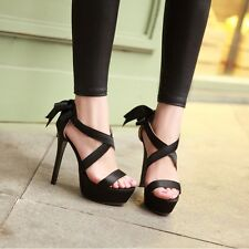 2014 New Women Lace Ups Synthetic Leather Sweet Bowtie Sandals High Heels Shoes