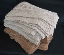 Brown and Gray Mohair Blend Cable Knit Throw Blankets Afghans New Without Tags