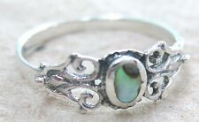 925 STERLING SILVER Small Oval NZ Paua Shell ABALONE Filigree Ring sz L N P R