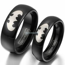 8mm/6mm Tungsten Carbide Laser Etched Batman Men's Women's Couple Band Rings NEW