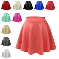 Womens Trendy Basic High Waisted Stretch Flared Pleated Plain Mini Skater Skirt