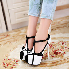 Sexy OL Womens Over High Platform Thin Heels Closed Toe T strappy Ankle New Size