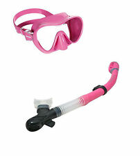 CRESSI PINK F1 FRAMELESS SILICONE MASK & SNORKEL SET SEMI DRY OR DRY SNORKEL