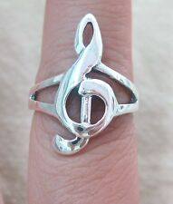 925 STERLING SILVER plain solid LONG TREBLE CLEF MUSICAL NOTE ring size L N P R