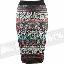 Ladies Women Tie Dye Seeing Eye Pattern Midi Skirt Stretch Graphic Indian