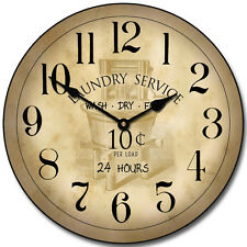 """Large wall Vintage Laundry Room Clock,12""""- 36"""" Whisper Quiet, Non-Ticking"""