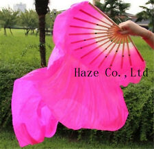7 Colors Belly Dance Bamboo Long Silk Fans Veils Hand Made Silk Fan