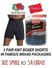 FRUIT OF THE LOOM & HANES 3 PAIR KNIT BOXERS IN FAMOUS BRAND PACKING