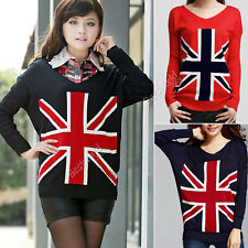 New Women Loose Union Jack Uk Flag Sweater Cardigan Knit Jumper Pullover Tops