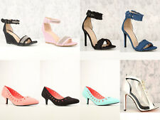 Blue White Pink Oxford Patent Closed Toe Platform Pump Wedges Heels Career Shoes
