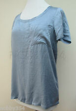 Ladies Tommy Hilfiger Denim Short Sleeve Blouse Top 100% Silk Blue S M L XL New