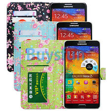 Bfun Flower Floral Interior Wallet Leather Case Cover for Samsung Galaxy Note 3