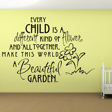 Every Child Is A Different Kind Of Flower Wall Sticker Quote Wall Decal Art