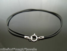 "1mm Black Rubber & Sterling Silver Necklace Or Wristband 16"" 18"" 20"" 24"" etc"